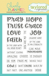 Taylored Expressions - Clearly Planned Clear Stamp - Faith Hope Love