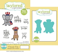 Taylored Expressions - Rubber Cling Stamps & Die Set - Patriotic Pals