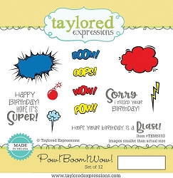 Taylored Expressions - Cling Mounted Rubber Stamp - Pow! Boom! Wow!
