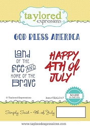 Taylored Expressions - Cling Mounted Rubber Stamp - Simply Said 4th of July