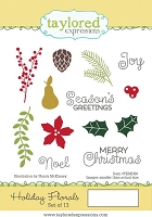 Taylored Expressions - Cling Mounted Rubber Stamp - Holiday Florals