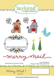 Taylored Expressions - Cling Mounted Rubber Stamp - Merry Mail 1