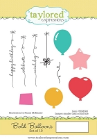 Taylored Expressions - Cling Mounted Rubber Stamp - Bold Balloons