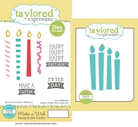 Taylored Expressions - Rubber Cling Stamps & Die Set - Make A Wish