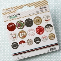 Webster's Pages - It's Christmas Collection - Self Adhesive Chipboard Buttons