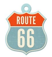 We-R-Memory Keepers - Jet Set Collection - Embossed Tag - Route 66