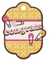 We-R-Memory Keepers - Baby Mine - Congrats Girl Embossed Tag
