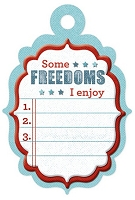 We-R-Memory Keepers - Red White Blue - Freedom List - Embossed Tag