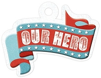 We-R-Memory Keepers - Red White Blue - Our Hero - Embossed Tag