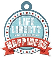 We-R-Memory Keepers - Red White Blue - Life Liberty & Happiness - Embossed Tag