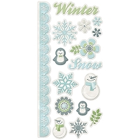 We-R-Memory Keepers - Winter Frost - Embossed Stickers
