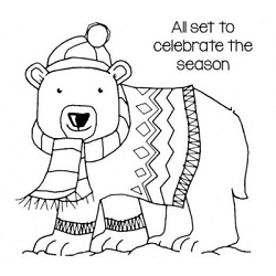 Woodware Craft - Clear Stamp - Seasonal Bear