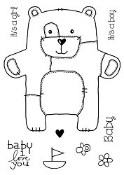 Woodware Craft - Clear Stamp - Baby Patch Bear