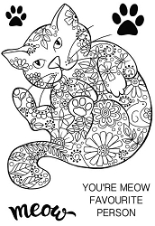 Woodware Craft - Clear Stamp - Decorative Cat