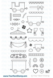 Your Next Stamp - Clear Stamp - All Aboard Train Carts