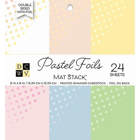 "Die Cuts With A View - 6""x6"" Paper Pad - Pastels w/ Foil Dot Cardstock Stack"
