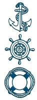Joy Crafts - Noor Cutting & Embossing Die - Nautical (Anchor, Ships Wheel, Lifesaver Buoy)