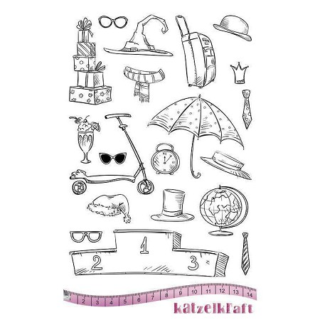 "Katzelkraft - A5 Unmounted Rubber Stamp Sheet - Les Drole d'Accessoires (Fun Accessories) (5.5"" x 8.5"")"