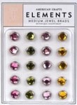 American Crafts Medium Jewel Brads - Botanique