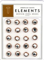 American Crafts Medium Jewel Brads - Copper