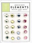 American Crafts Medium Jewel Brads - Pastels
