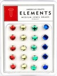 American Crafts Medium Jewel Brads - Primaries