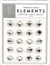 American Crafts Medium Jewel Brads - Silver
