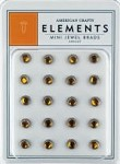 American Crafts Mini Jewel Brads - Apricot