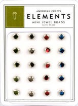 American Crafts Mini Jewel Brads - Earthtones