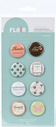 American Crafts - Flair Adhesive Badges - Telegram