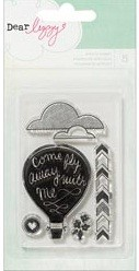 American Crafts - Lucky Charm Collection - Dear Lizzy -  Clear Acrylic Stamp - Phrases & Icons - Balloon