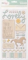 American Crafts - Lucky Charm Collection - Dear Lizzy -  Chip Thickers Accent Stickers - Trinkets & Phrases / Neutral