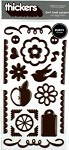 American Crafts Thickers Puffy Stickers - Chit Chat Accents Chestnut