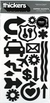 American Crafts Thickers Foam Stickers -Subway Accents Black