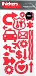 American Crafts Thickers Foam Stickers -Subway Accents Cherry