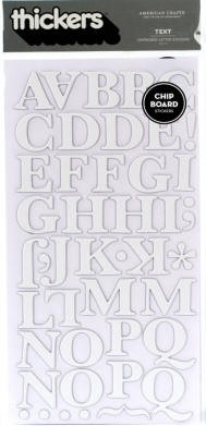 American Crafts Thickers Chipboard Stickers - Text White