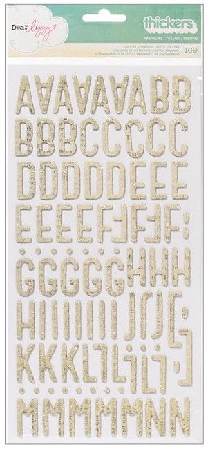 American Crafts - Lucky Charm Collection - Dear Lizzy - Printed Chipboard Thickers - Treasure Vanilla Glitter
