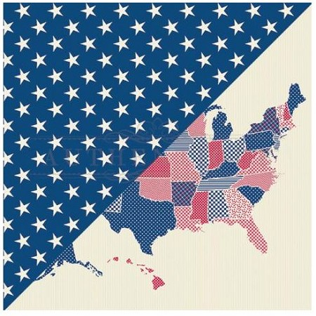 "Authentique - United Collection - 12""x12"" Double Sided Cardstock - One, white stars on navy/USA map"