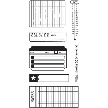 Basics Grey Basics Clear Stamp - Date and Time
