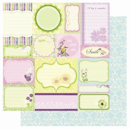 "Best Creation - A walk in the Garden Collection - 12""x12"" Glitter Cardstock - Spring Tags"