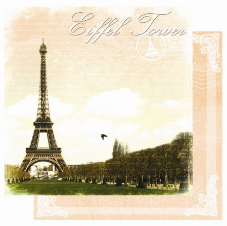 "Best Creation - Europe Collection - 12""x12"" Glitter Cardstock - Eiffel Tower"