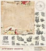 "Blue Fern Studios - Love Story Collection - 12""x12"" Double Sided Paper - Sweet Song"