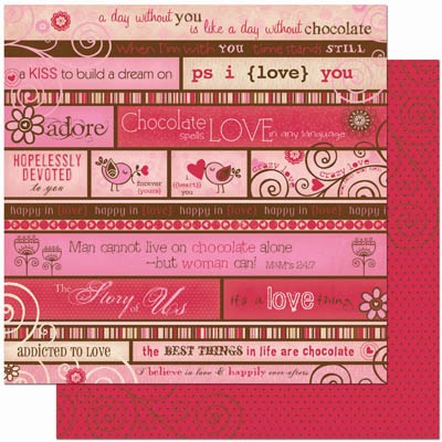 Bo Bunny Crazy Love - Double Sided Paper - Love Story