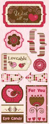 Bo Bunny Crazy Love Stickers - Loveable