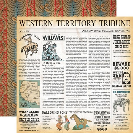 "Carta Bella - Cowboy Country Collection - 12""x12"" Cardstock - Western Territory"