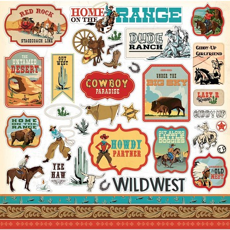 "Carta Bella - Cowboy Country Collection - 12""x12"" Stickers"