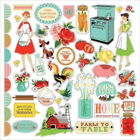 "Carta Bella - Country Kitchen Collection - 12""x12"" Stickers"