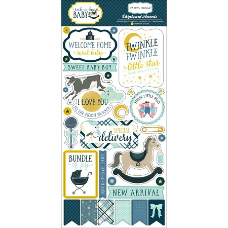 "Carta Bella - Rock-a-Bye Baby Boy Collection - 6""x12"" Chipboard Accents"