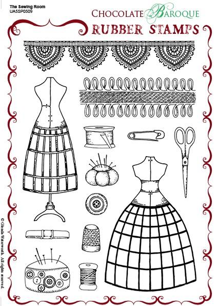 "Chocolate Baroque - Unmounted Stamp Sheet (5.5""x8"") - The Sewing Room"