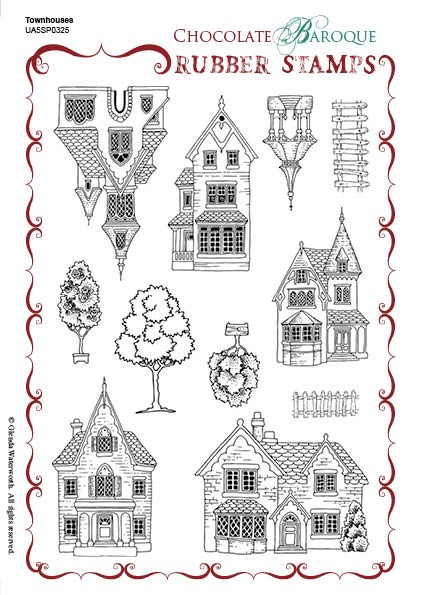 "Chocolate Baroque - Unmounted Stamp Sheet (5.5""x8"") - Townhouses"